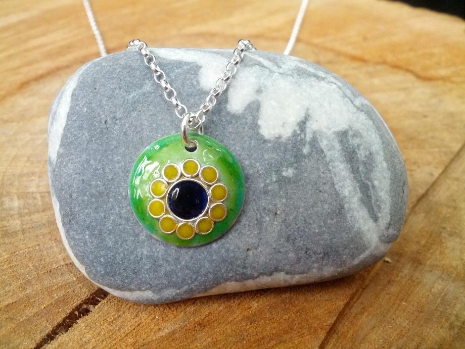 Enamel sunflower pendant