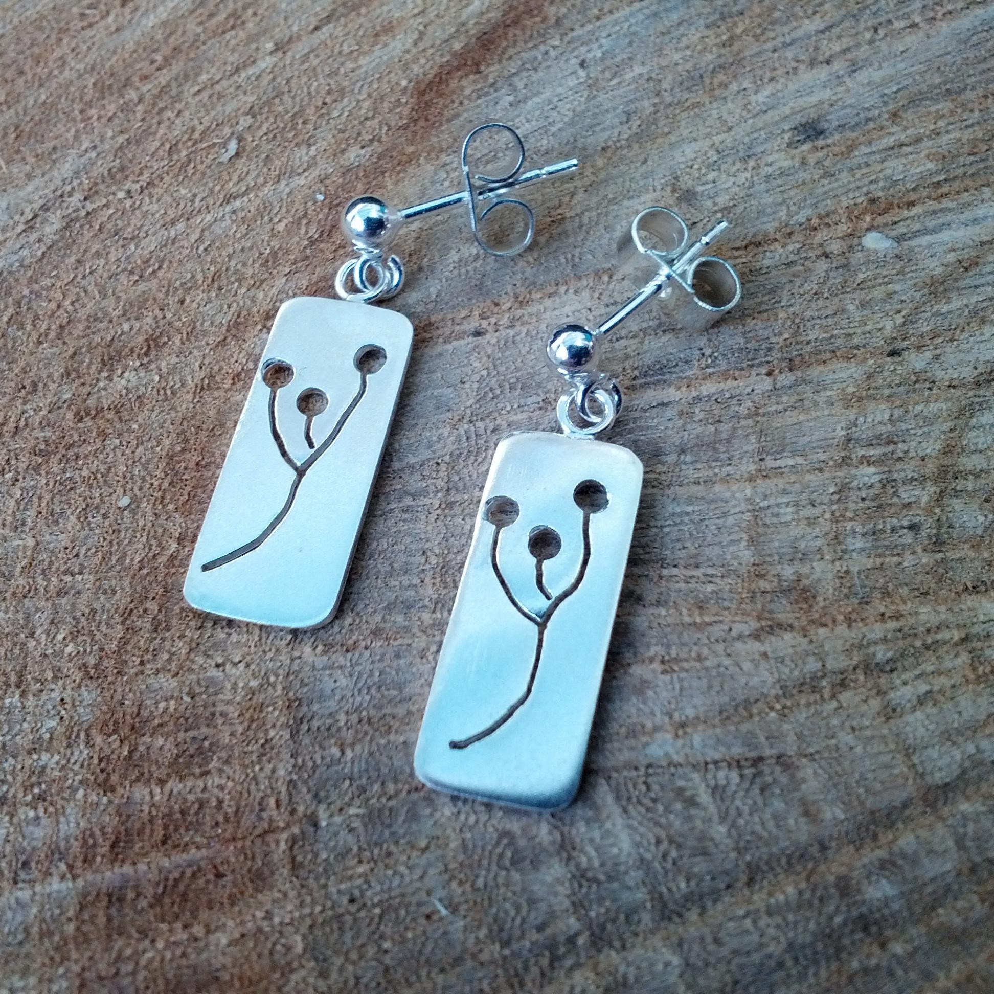 Silver seed head earrings