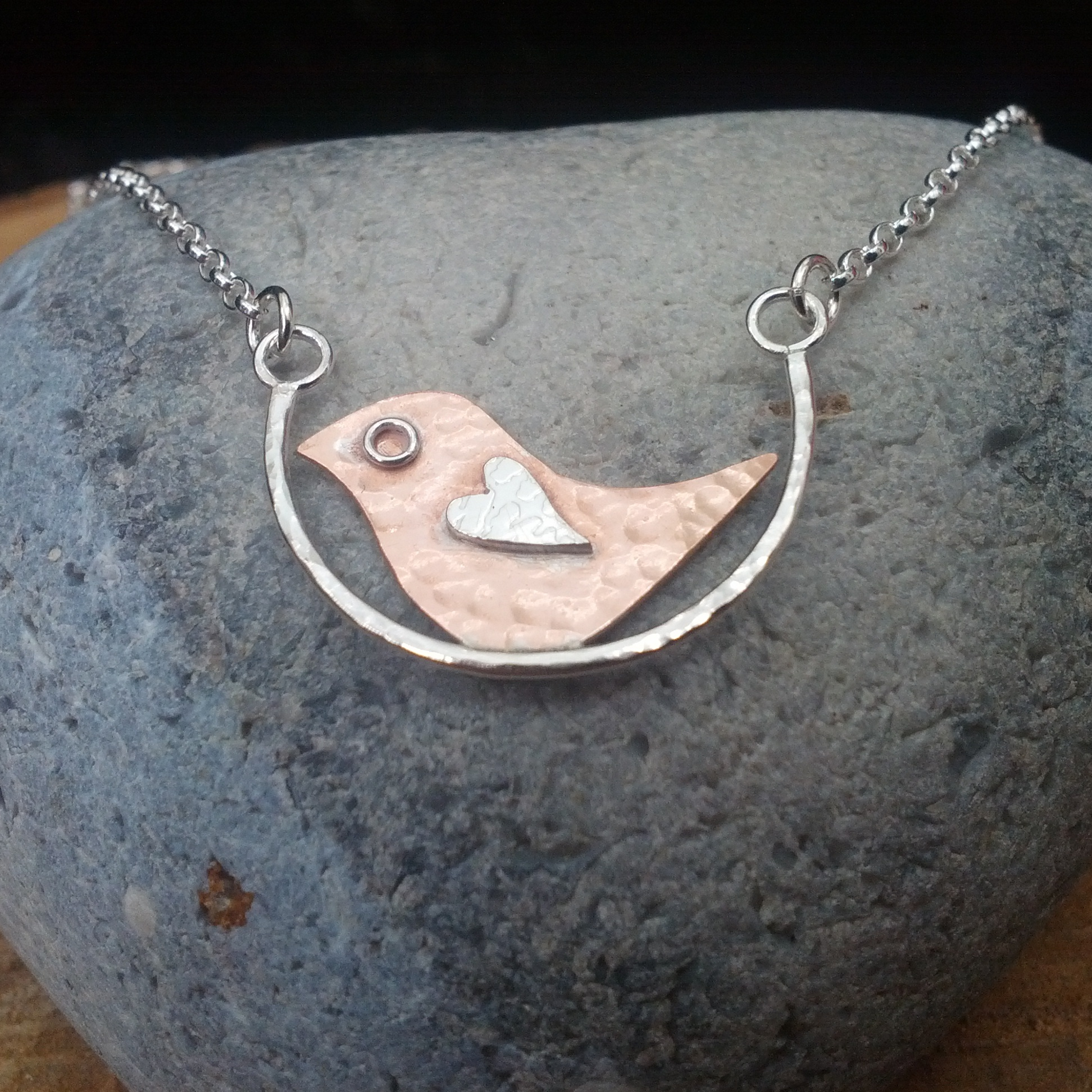 Copper and silver bird necklace