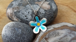 Silver and enamel flower pendant