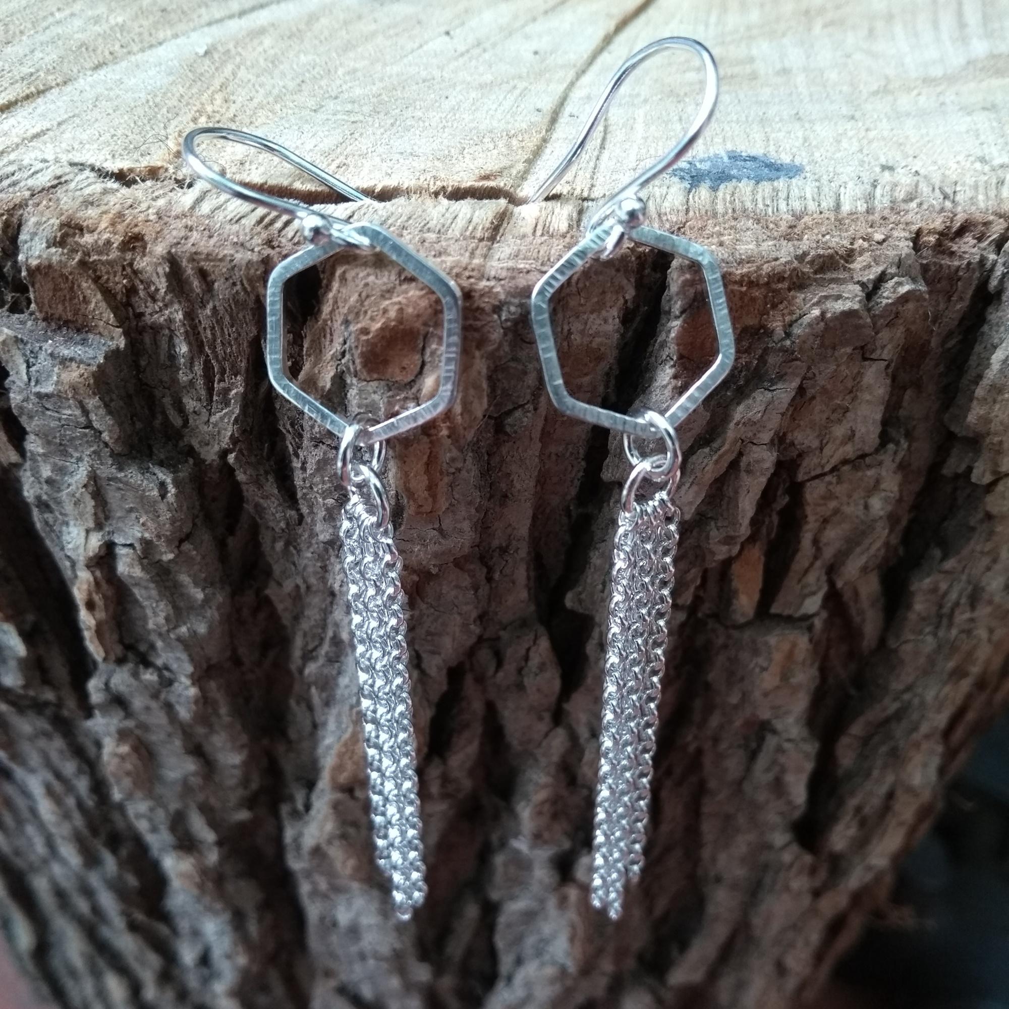 Silver hexagon dangle earrings