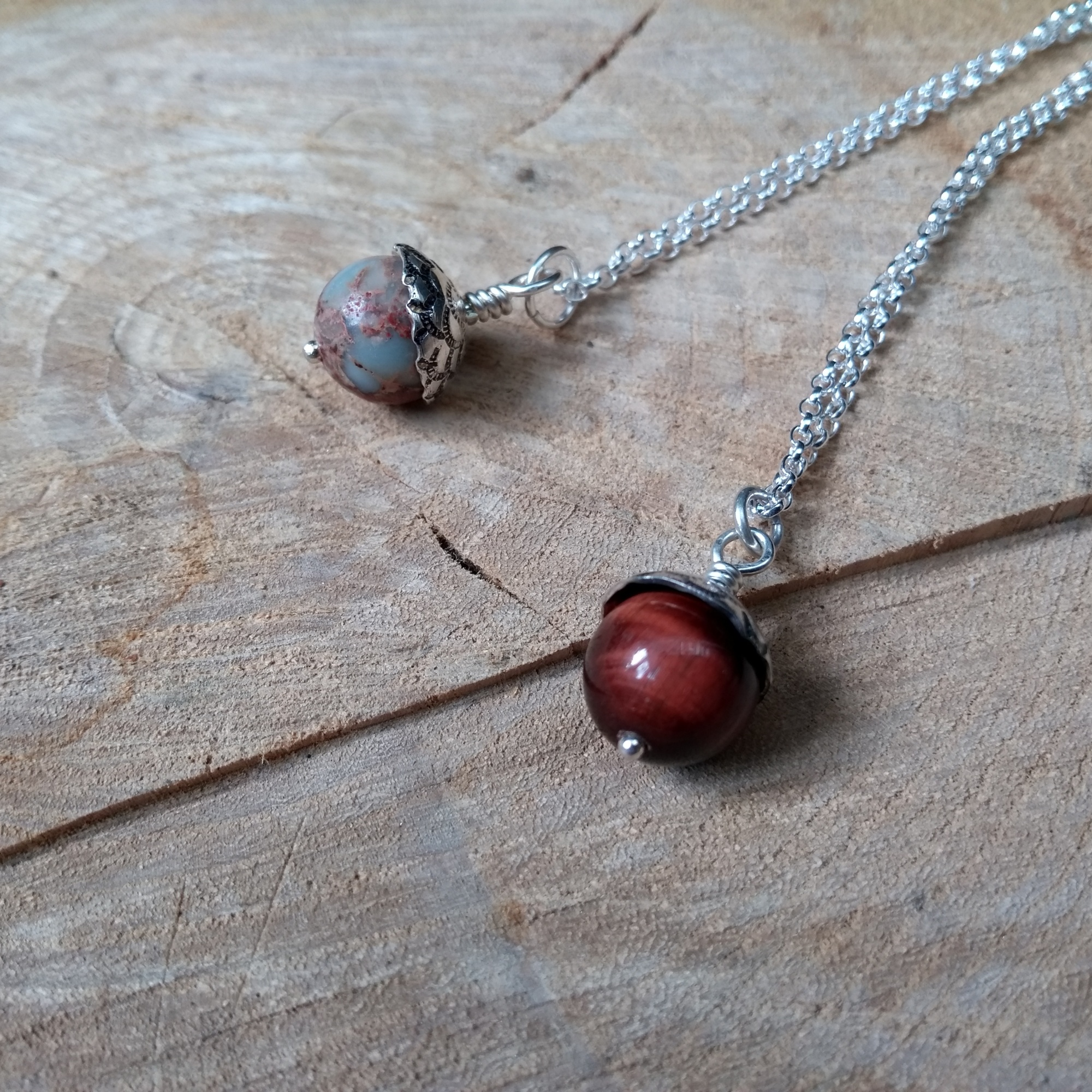 Silver acorn pendants with semi-precious stones