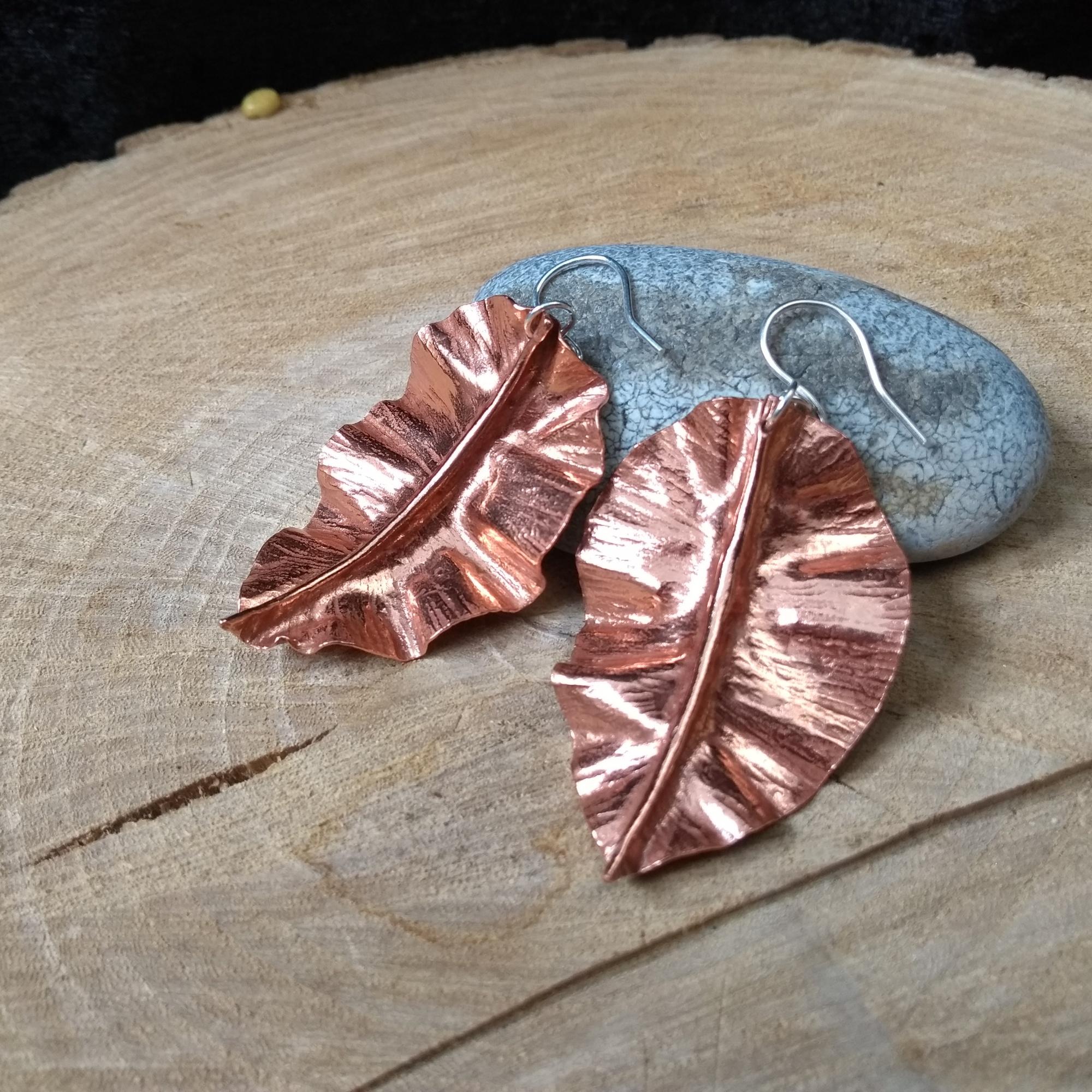 Copper fold formed leaf earrings